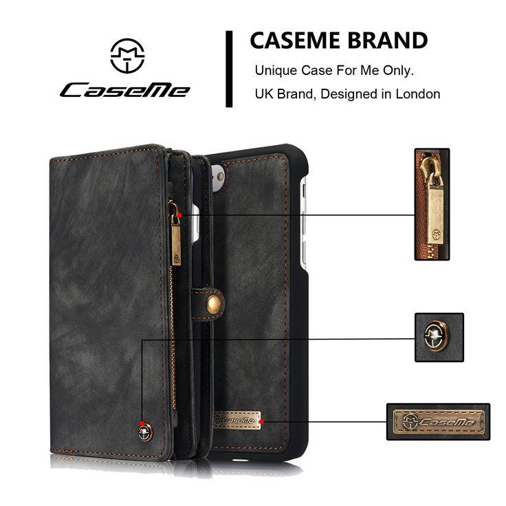 Caseme Zipper Wallet Magnetic Detachable Case For iPhone 7 Plus/8 Plus
