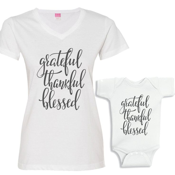 Grateful, Thankful and Blessed Matching White Shirt Set Charcoal Font by bodysuitsbynany on Etsy