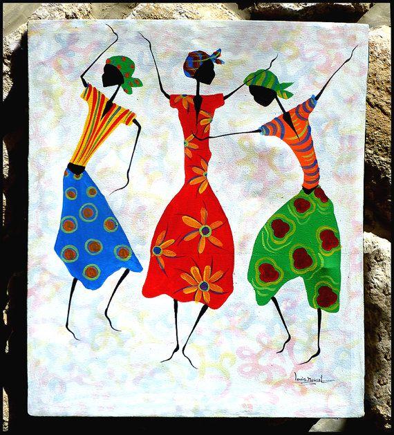 Colorful Haitian Women Dancers Hand Painted Haitian