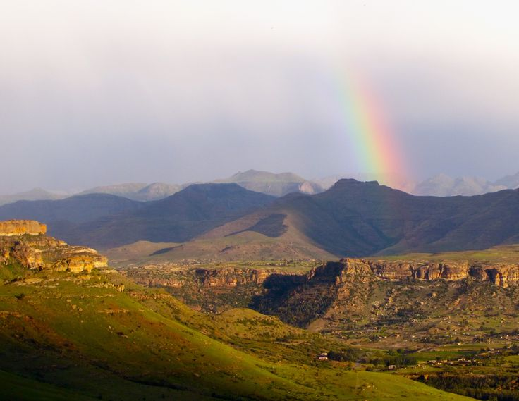 Self drive route Clarens to Fouriesburg rainbow over Maluti Mountains