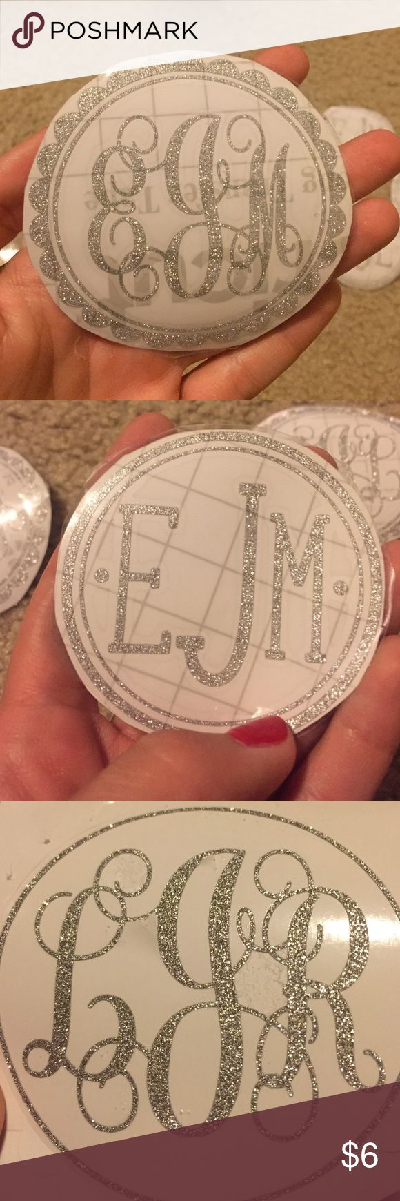 """3"""" Silver Glitter Monogram Sticker This is a permanent silver glitter vinyl, ready to be applied to a car, laptop, Lilly cup, Yeti cup, tumbler, or anything you can imagine! This listing is for silver glitter but these designs can be done on other vinyl colors as well. Please comment below for other inquiries. You aren't limited to these designs but these are the most popular! You can also do a bigger size, this is for a 3"""" monogram sticker in silver glitter. VINYL Accessories"""
