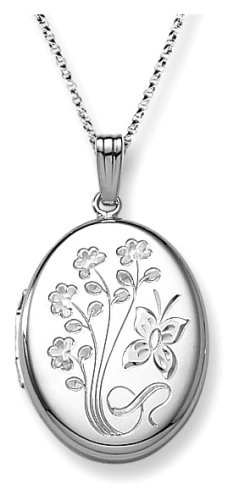 Sterling Silver Engraved Flowers Oval Locket
