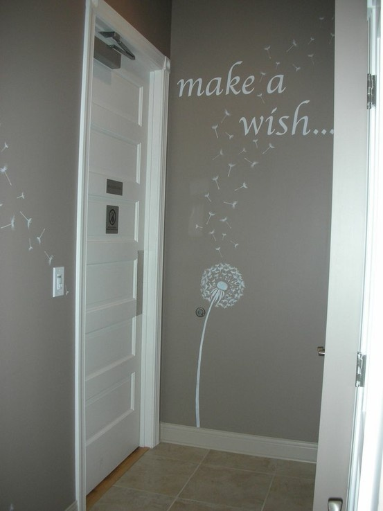 Dandelion Stencil- gray room done by Mary http://www.cuttingedgestencils.com/dandelion-stencil.html