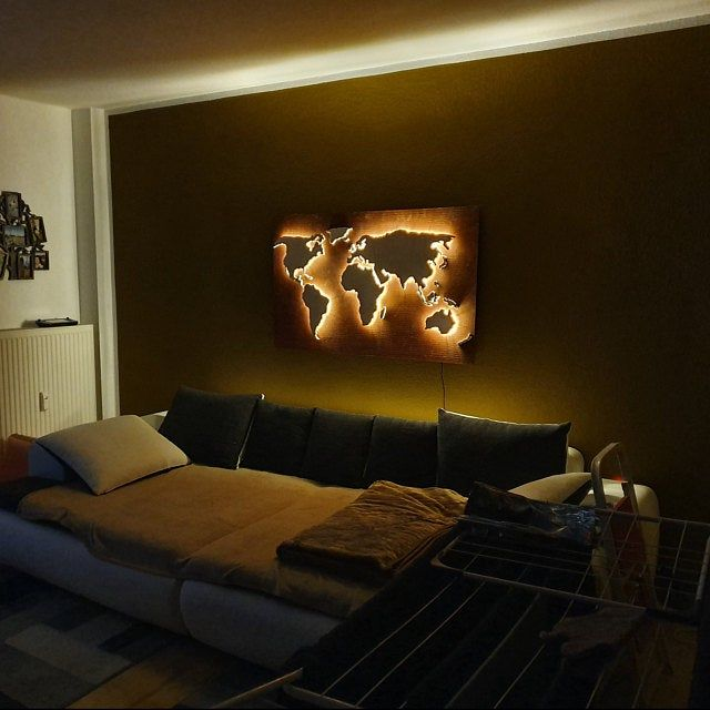 Wooden World Map As Light Up Wall Decor Custom Wall Map With