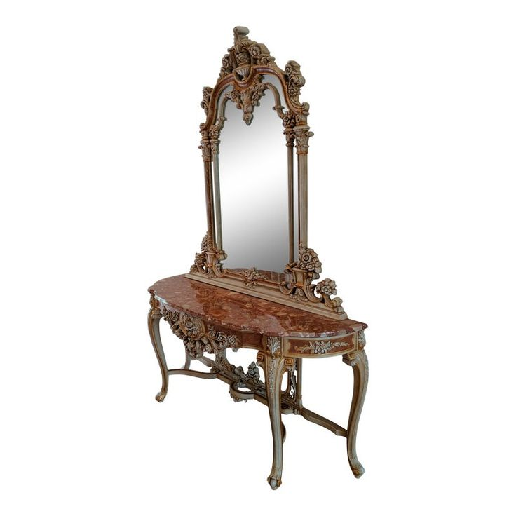 20th Century Italian Rococo Giltwood With Rouge Marble Entry Console Table & Mirror