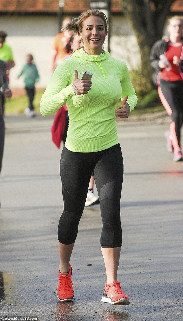 Run Gemma run! Gemma Atkinson was proving exactly how she keeps in shape as she threw herself into fun run in Manchester on Saturday