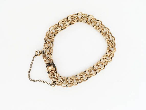 78db50031e5f2 Vintage 1940s 1950s Estate Jewelry, Elco 12K GF Double Link Curb ...