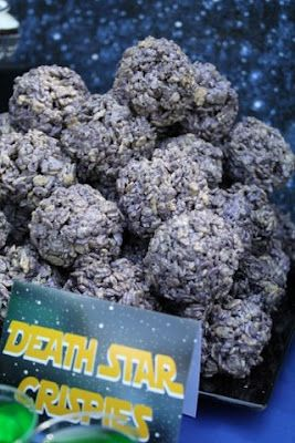 Mariana, I'm going to make these Sat. Death Star Krispies - cute star wars food ideas