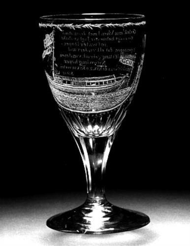 Kelkglas TREKSCHUIT A'DAM-UTRECHT, 1809 Adrianus (II) Hoevenaar (1764 - 1832) (glasgraveur)