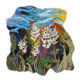 Needle and wet felted wool wall-hanging piece by mixed media artists Corinne Cowell (Calgary, AB)