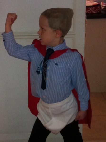 Captain Underpants - an easy but effective costume - simply add oversized underpants and a red cape over clothes!  #costumes # costume #dressup #netmums