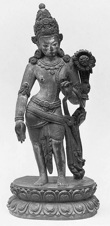 Standing Padmapani. Nepal (Kathmandu Valley), 17th century. Carved wood with traces of polychrome and gilt, h. cm. 15.2. New York, The Metropolitan Museum.