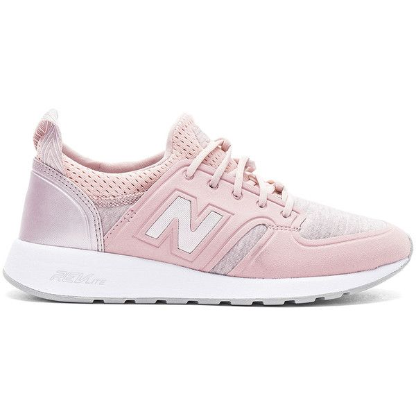 new balance 420 trainers with rose gold trim in pink