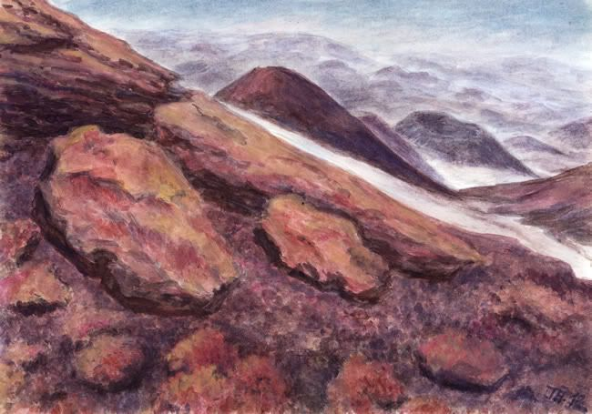 On Etna... watercolor and pastel by Jana Haasová