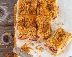 Gâteau surprise aux framboises façon crumble