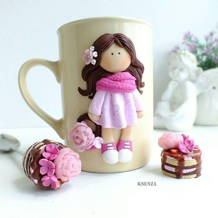 Наборчик сделан на заказ. Повтор 1500р  #полимернаяглина #пластика #кружкасдекором #фимо #ярмаркамастеров #девочки #polymerclay #mug #handmade #fimo #livemaster #doll