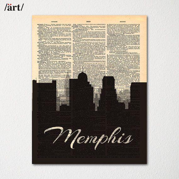 Memphis City Skyline Dictionary Art Print / Cityscape Poster / Travel Art Decor