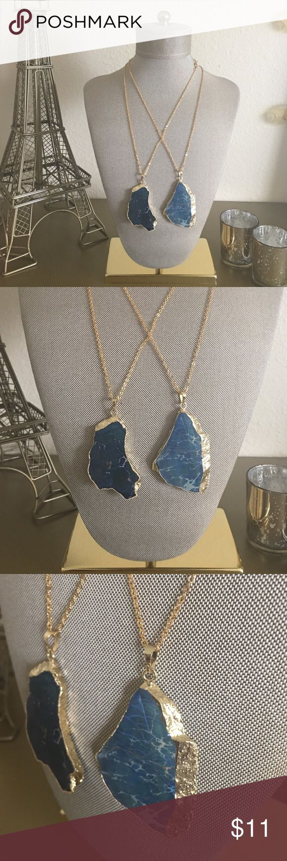 ✨✨24 K Natural Gold Plated Boho Pendant This Deep Blue natural ocean jasper stone will compliment any blouse and leave other staring. All pendants are wrapped with 24 karat gold with a 18inch 24 karat gold chain.   *No 2 pendants are the same. *No Low Balling Please❌❌ *Serious Inquiries Only✔️😜   ▶️▶️Follow on FB @ Living Colors Boutique, Instagram @ livingcolorsboutique, Twitter @ lcb_clothing,  or our website www.livingcolorsboutique.com Accessories