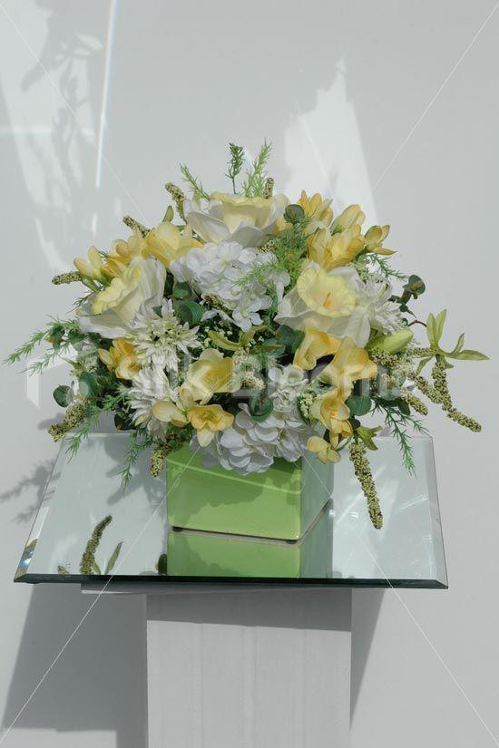 cube vase silk arrangements | ... Freesia Wedding Cube Vase Artificial Floral Table Arrangement | eBay