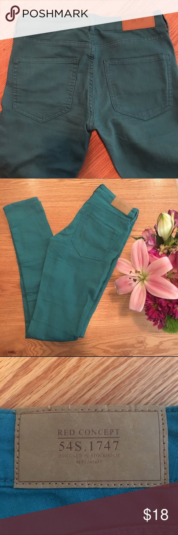 H&M Divided Teal skinny jeans Great condition, fun color jeans! US size 6 H&M Jeans Skinny