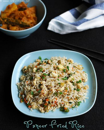 Easy paneer fried rice recipe - paneer is crumbled and added to the fried rice - with Step by step pictures!