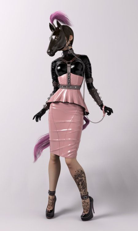 Latex horse mask, harness, skirt, blouse, corset & gloves.  fetish, bdsm, tattoo, tattoos
