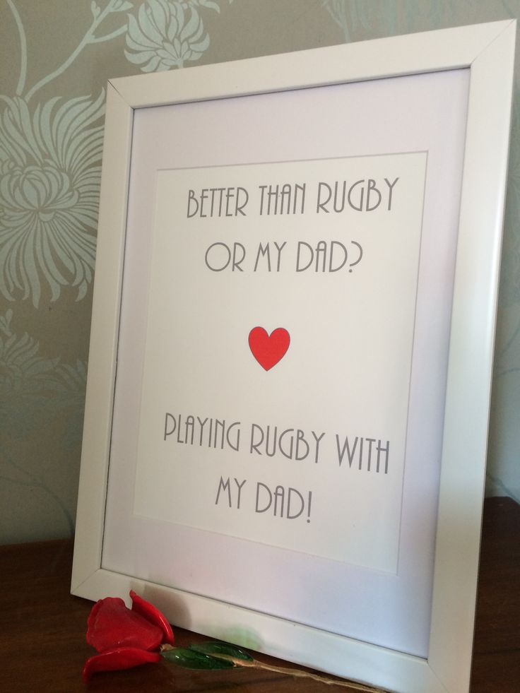Playing rugby and dad print