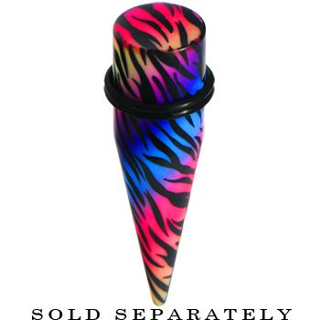 18mm Multi Color Animal Logo Acrylic Ear Taper | Body Candy Body Jewelry