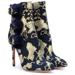 Aquazzura Sinatra 105 Fur-Trimmed Brocade Ankle Boots