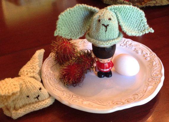 Knit egg cozy, egg warmer, bunny egg cozy, bunny egg warmer, cozy, cosies