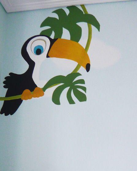 Τροπικό πουλί τουκάν. Λεπτομέρεια ζωγραφικής τοίχου σε βρεφικό δωμάτιο. Δείτε περισσότερες ιδέες διακόσμησης για το παιδικό ή βρεφικό δωμάτιο στη σελίδα μας  www.artease.gr