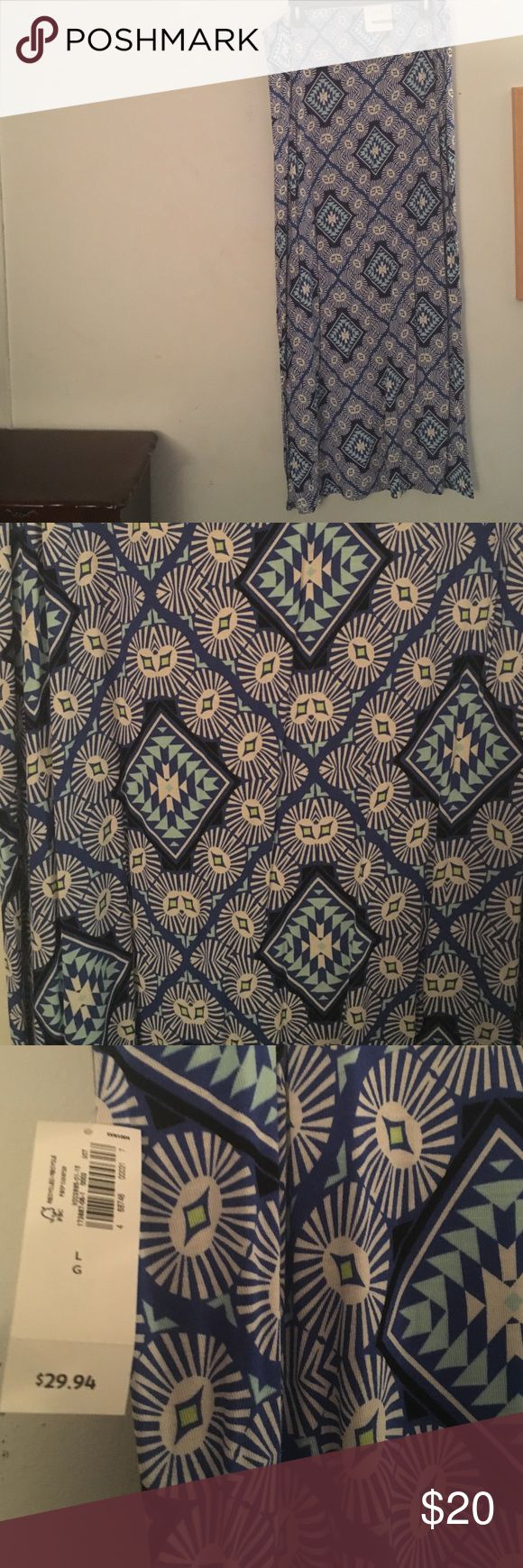Cotton maxi skirt NWT Cotton maxi skirt, NWT. Elastic waistband, slit in either side up to knee. Blue and white geometric pattern. Old Navy Skirts Maxi