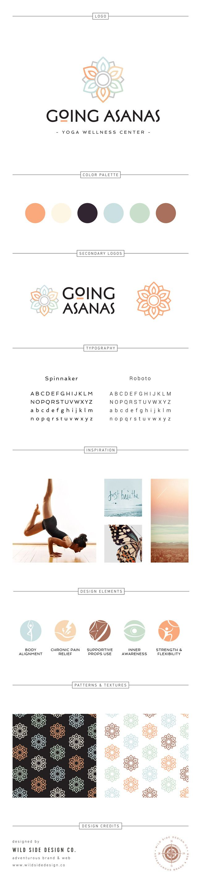 Brand Launch :: Brand Style Board :: Modern  Yoga Studio Branding :: Going Asanas Design :: #brandboard by Wild Side Design Co. - www.wildsidedesign.co http://amzn.to/2tmssiM