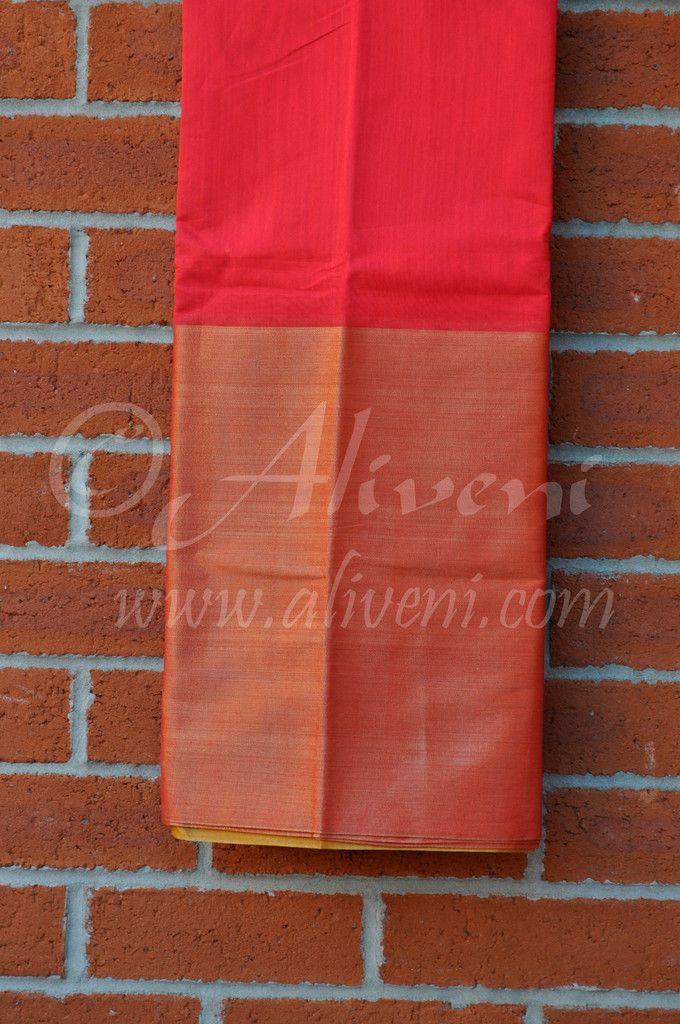Red Coimbatore Soft Silk Saree with Broad Zari/Tissue Border