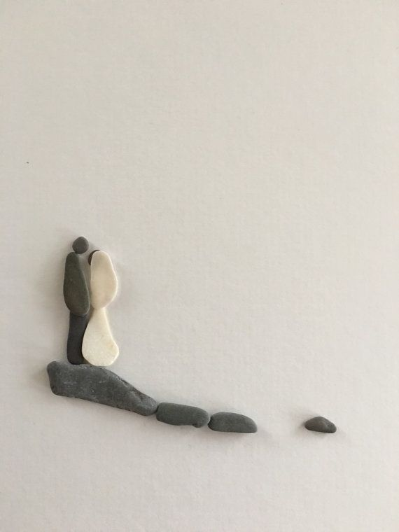 Wedding pebble art by sharon nowlan by PebbleArt on Etsy