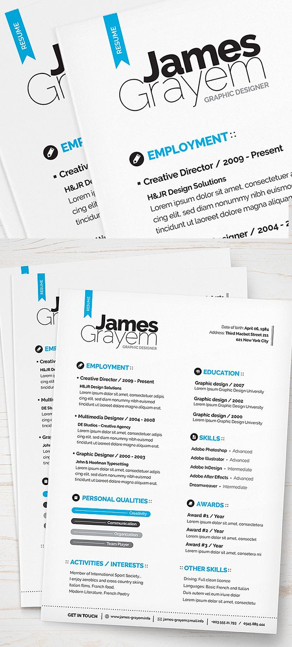 Free Resume + Cover Letter / CV Template (PSD)