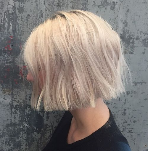 Use putty or hair wax to create texture.blonde chin-length blunt bob