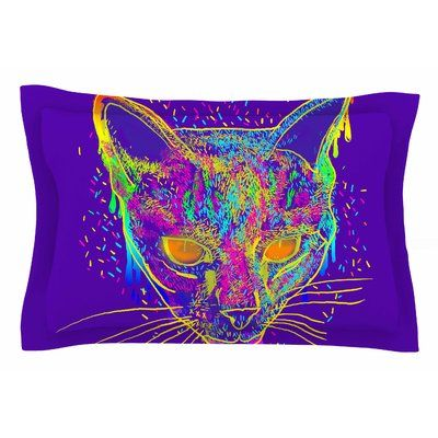 East Urban Home Frederic Levy-Hadida 'Candy Cat Purple' Rainbow Purple Pillow Sham Sham Color: Purple/Rainbow, Size: King