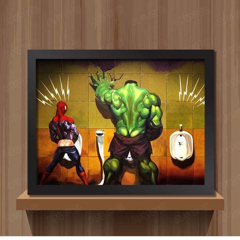 Toilettes Hulk Thor Joker Spider Man Wolverine Marvel Héros drôle Jouet Affiche Mur Photos tissu D'impression Toile peinture décor À La Maison