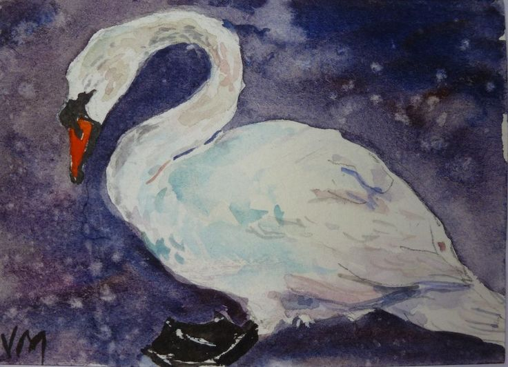 El Cisne,ACEO Card Original artwork in Watercolor, Miniature art Aceo #Realism