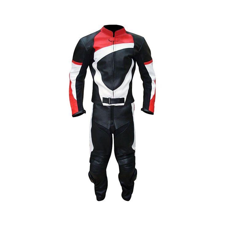 Men Black Red White Biker Leather Jacket