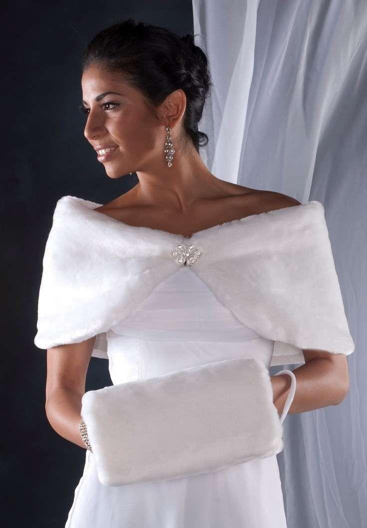 Giacche e coprispalle per le spose d'inverno - Manicotto e stola in pelliccia da sposa
