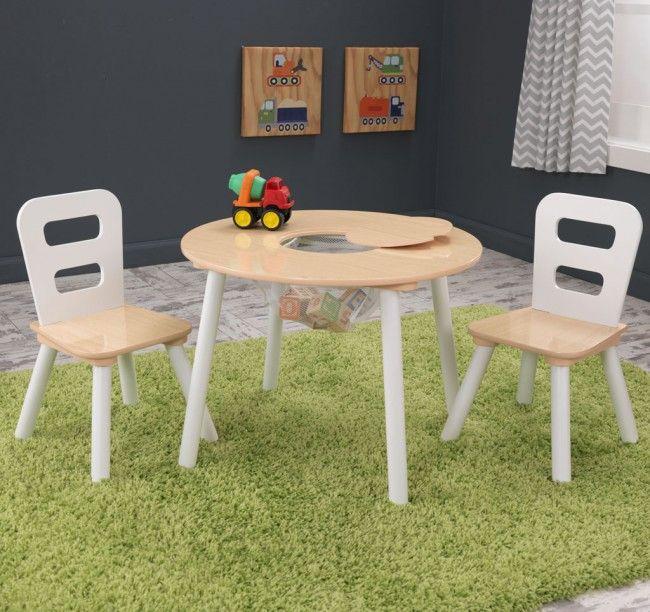 Weiß-Naturer KidKraft Kindertisch rund mit passenden Stühlen