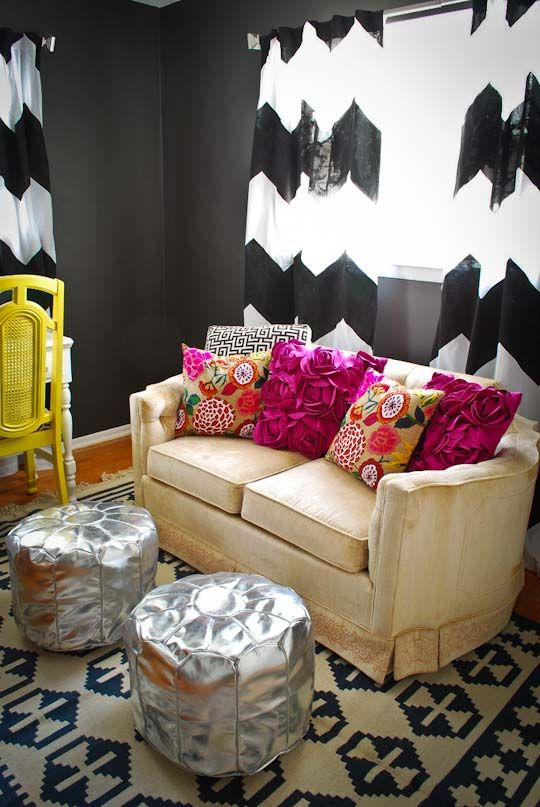 apartment therapy: House Tours, Bold Prints, Colors Mixed, Dreams House, Living Room, Thrift Stores, Pillows Pattern, Mixed Pattern, Chevron Curtains