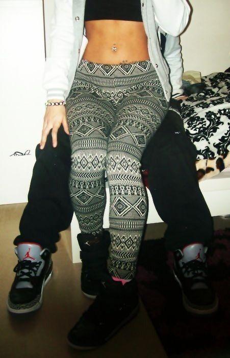 girls with swag and jordans | I have those same leggins, cute couples jordans ...