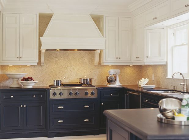 Different color upper and lower cabinets kitchens for Different kitchen colors
