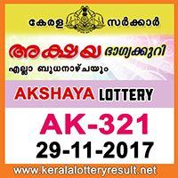 29-11-2017 : Akshaya Lottery AK 321 Results