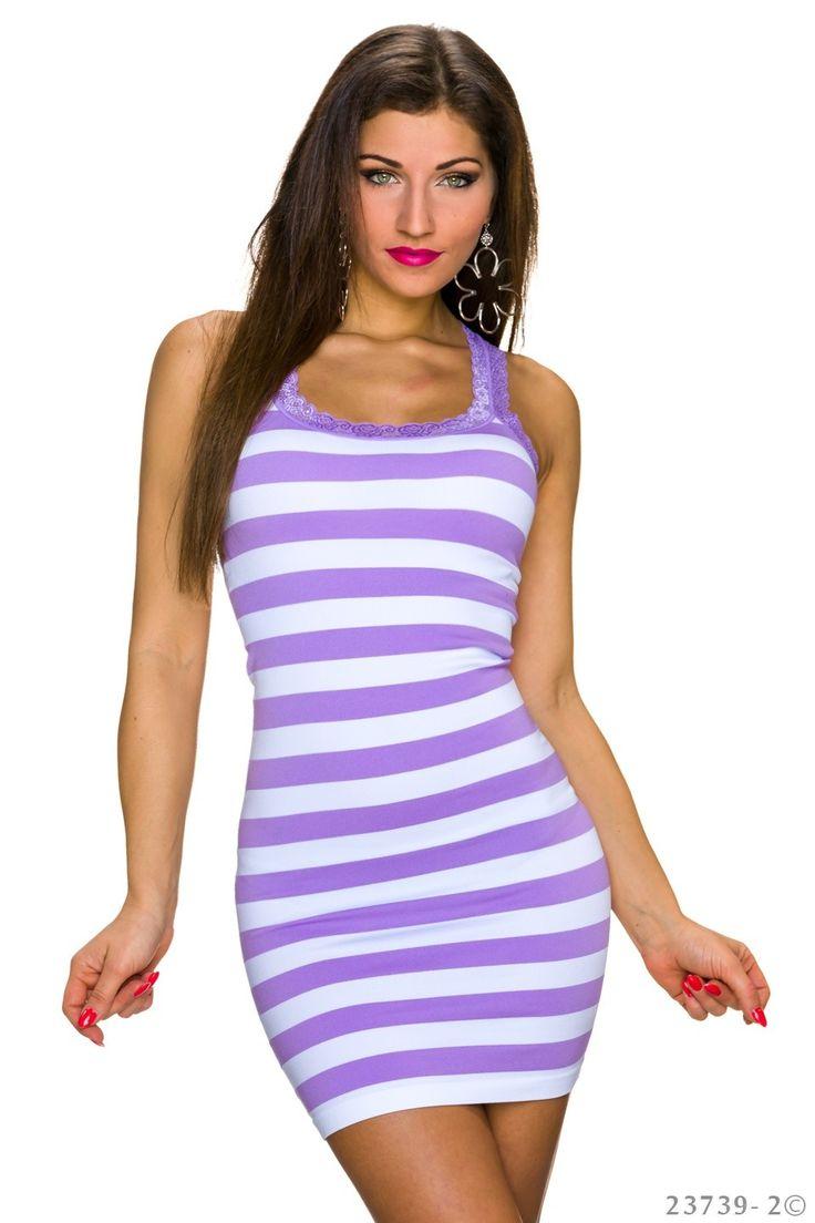 Summer Fantasia Purple Dress, lace details, sleeveless, horizontal stripes, form-fitting, elastic fabric, women`s dress