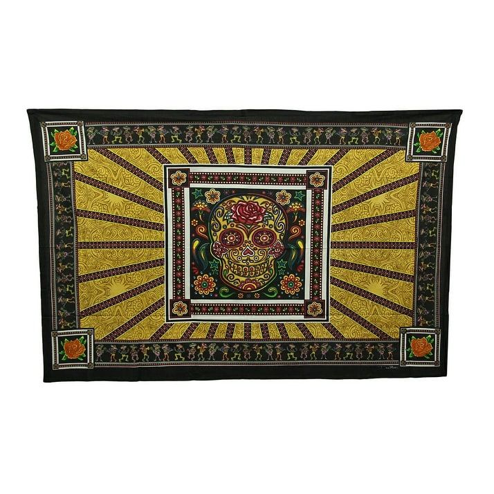 Dan Morris Sugar Skull and Roses Tapestry Wall Hanging, Multi (Cotton)