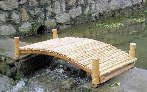 """6' Bamboo Footbridge with posts - 32""""W x 72""""L  ($245.15 + freight )  {} MasterGardenProducts"""
